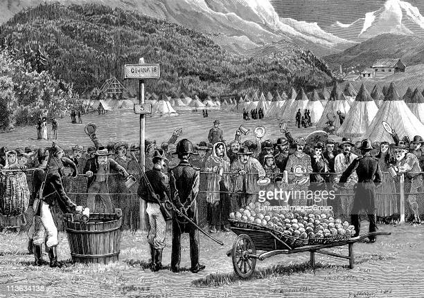 Cholera epidemic in Europe travellers from Switzerland en route for Italy being kept in quarantine at Bardonnechia Italy for five days Illustration...