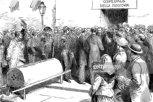 Cholera epidemic in Naples government ministers visiting a hospital Wood engraving published Paris 1884