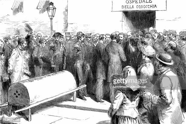 Cholera epidemic in Naples Italy Government ministers visiting a hospital Wood engraving published Paris 1884