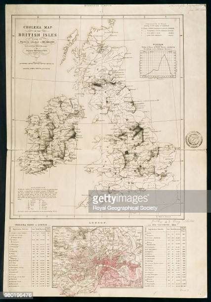 Cholera Map of the British Isles showing the districts attacked in 1831 1833 Constructed from official Documents by Augustus Petermann FRGS Scale 12...