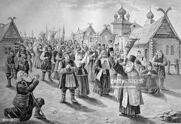 Cholera procession in russia historical illustration ca 1893