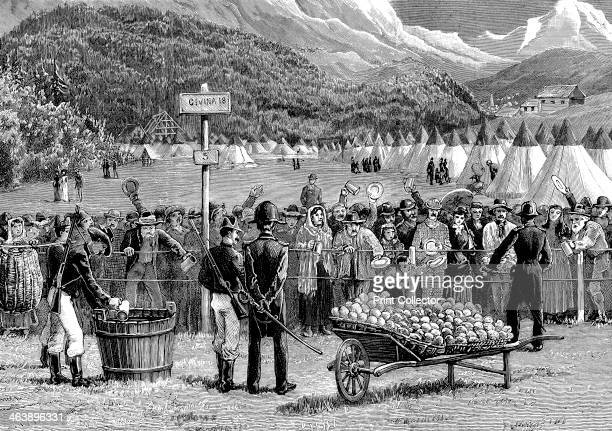 Cholera quarantine in Italy Travellers from Switzerland en route for Italy being kept in quarantine at Bardonnechia Italy for five days Illustration...