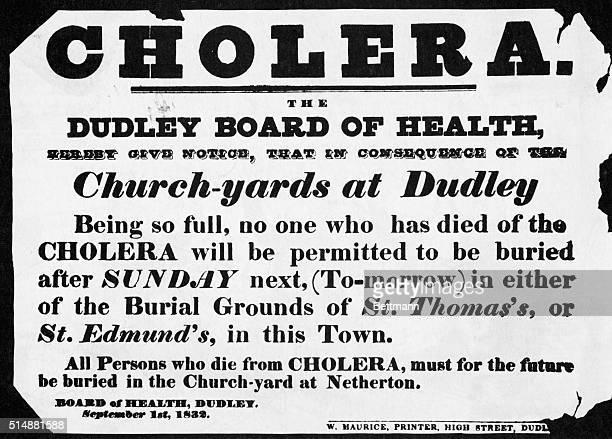 CholeraBoard of Health notice announcing full graveyards Undated engraving 1/20/94 BPA2# 3013