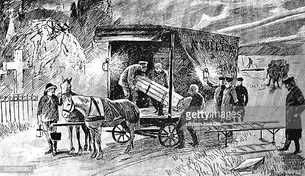 CholeraEpidemie in Hamburg 1892Massenbegräbnis in OhlsdorfZeichnung von Schybilski