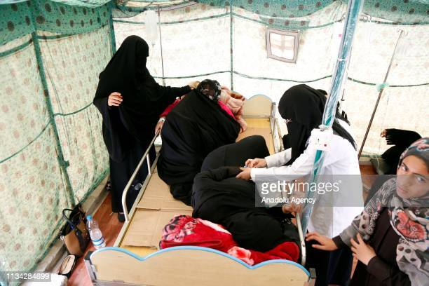 Cholerainfected patients receive medical treatment at Al Sabeen Hospital in Sana'a Yemen on April 1 2019 According to World Health Organization...