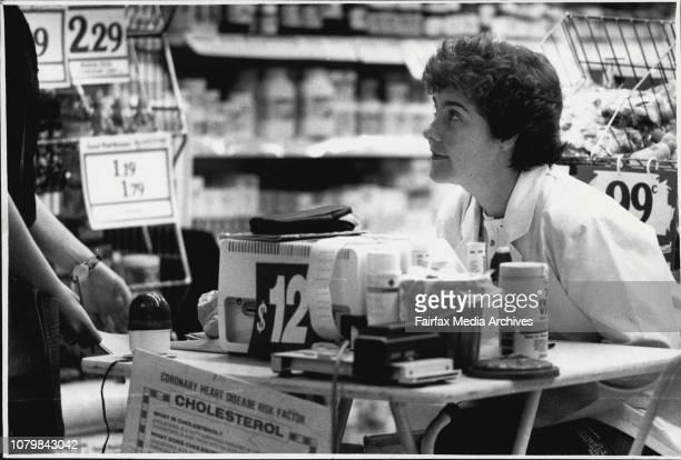 Cholesterol test table set up in hunter st Sydney September 27 1988