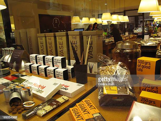 Cholocate products in the showcase of the Chocolat Factory Store in the Fashion Mall Shopping in Madrid these stores dedicated to chocolates and...