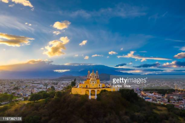 cholula church in puebla city - puebla state stock pictures, royalty-free photos & images