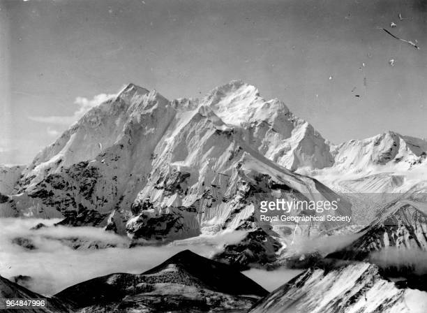 Chomolonzo and Makalu from summit at 21200 feet South West of Advanced Base Camp China May 1921 Mount Everest Expedition 1921