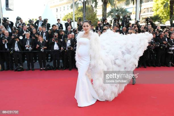 Chompoo Araya attends the Ismael's Ghosts screening and Opening Gala during the 70th annual Cannes Film Festival at Palais des Festivals on May 17...