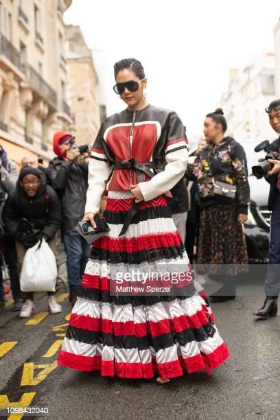 Chompoo Araya Hargate is seen attending Jean Paul Gaultier during Paris Haute Couture Fashion Week wearing Jean Paul Gaultier on January 23 2019 in...