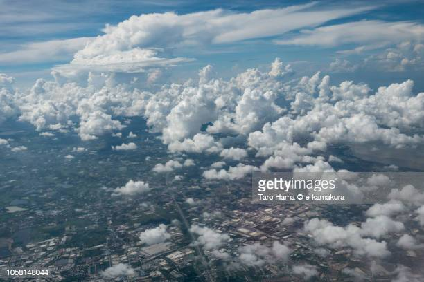 Chonburi province in Thailand daytime aerial view from airplane