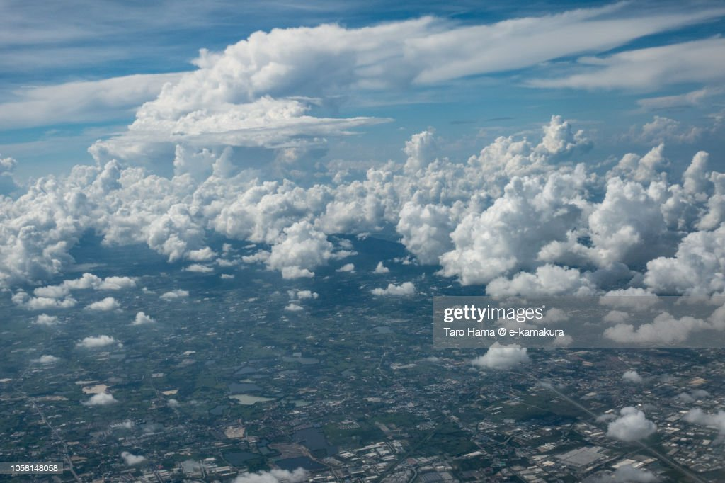Chonburi province in Thailand daytime aerial view from airplane : Stock Photo