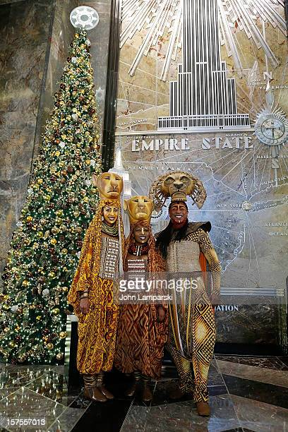 Chondra La-Tease Profit, Lindiwe Diamini and Alton Fitzgerald White White attends the Lighting Ceremony Honoring The 15th Anniversary Of Broadway's...