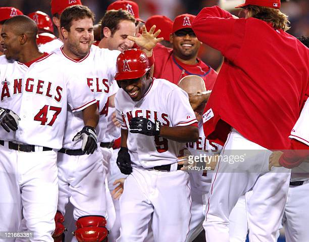 Chone Figgins of the Los Angeles Angels of Anaheim is congratulated by teammates after a gamewinning hit in the 11th inning of 43 victory over the...