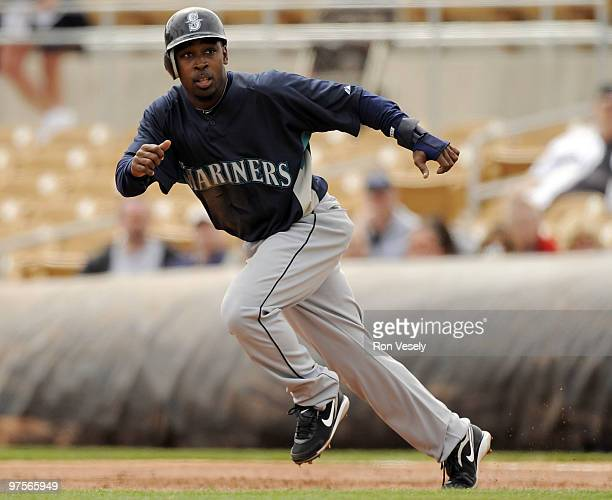 Chone Figgins of the Seattle Mariners runs the bases against the Chicago White Sox on March 8 2010 at The Ballpark at Camelback Ranch in Glendale...