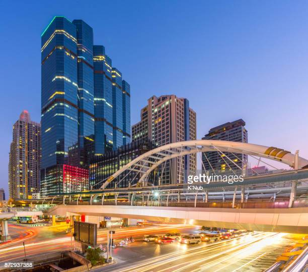 Chong Nonsi link bridge over Sathorn junction, business district center of working place in Bangkok Thailand
