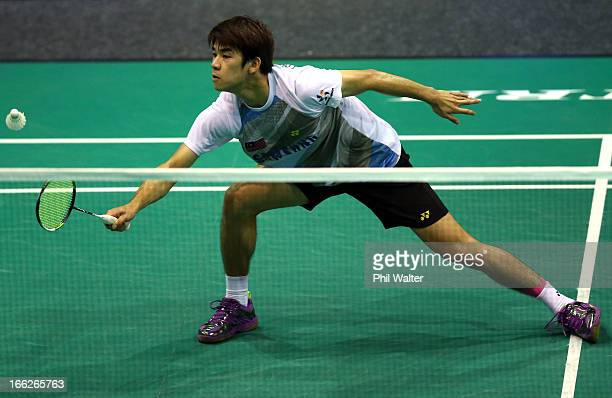 Chong of Malaysia plays a forehand in his Mens Singles match against Riichi Takeshita of Japan during day two of the New Zealand Badminton Open at...