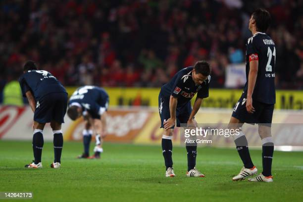 Chong Tese Christian Clemens Sascha Riether and Geromel of Koeln react after the Bundesliga match between between FSV Mainz 05 and 1 FC Koeln at...