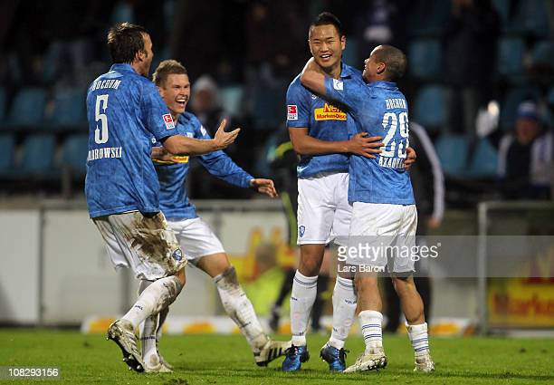 Chong Tese of Bochum celebrates with team mates after scoring his teams first goal during the Second Bundesliga match between VfL Bochum and...