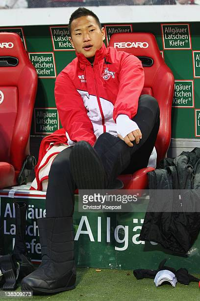 Chong Tese of Koeln puts on boots on the bench during the Bundesliga match between 1 FC Kaiserslautern and 1 FC Koeln at FritzWalterStadium on...