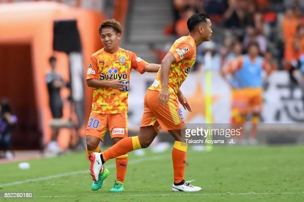 Chong Tese of Shimizu SPulse and Shota Kaneko of Shimizu SPulse in action during the JLeague J1 match between Shimizu SPulse and Sanfrecce Hiroshima...
