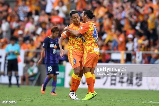 Chong Tese of Shimizu SPulse celebrates scoring his side's first goal with Makoto Kakuda of Shimizu SPulse during the JLeague J1 match between...