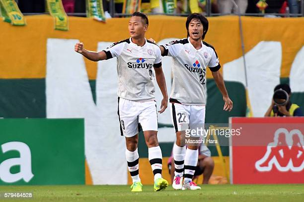 Chong Tese of Shimizu SPulse celebrates the first goal during the JLeague second division match between JEF United Chiba and FC Shimizu SPulse at the...