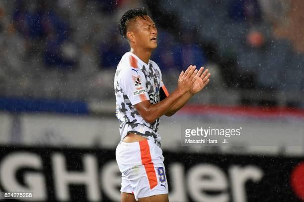 Chong Tese of Shimizu SPulse reacts during the JLeague J1 match between Yokohama FMarinos and Shimizu SPulse at Nissan Stadium on July 29 2017 in...