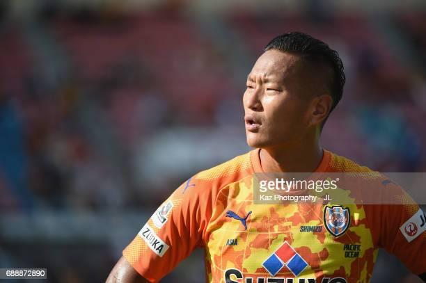 Chong Tese of Shimizu SPulse shows dejection after his side's 13 defeat in the JLeague J1 match between Shimizu SPulse and Yokohama FMarinos at IAI...