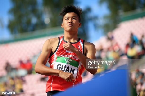 Chong Wei Guan of Singapore celebrates after breaking his national under 20 record in heat 6 of the men's 110m hurdles on day two of The IAAF World...