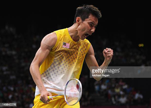 Chong Wei Lee of Malaysia celebrates a point in his Men's Singles Badminton Gold Medal match against Lin Dan of China on Day 9 of the London 2012...