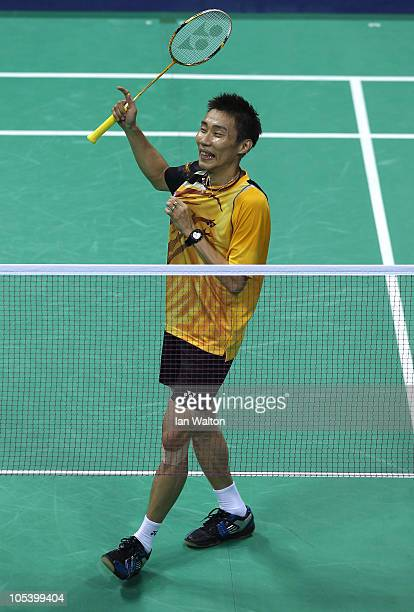 Chong Wei Lee of Malaysia celebrates winning his match against Rajiv Ouseph of England in the men's singles badminton match at Vijay Chowk during day...
