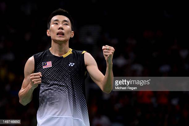 Chong Wei Lee of Malaysia celebrates winning the Men's Singles Badminton SemiFinal against Long Chen of China on Day 7 of the London 2012 Olympic...