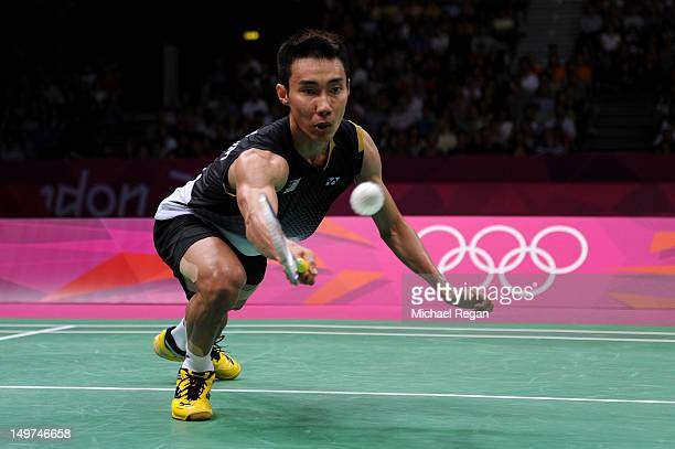 Chong Wei Lee of Malaysia competes in the Men's Singles Badminton SemiFinal against Long Chen of China on Day 7 of the London 2012 Olympic Games at...