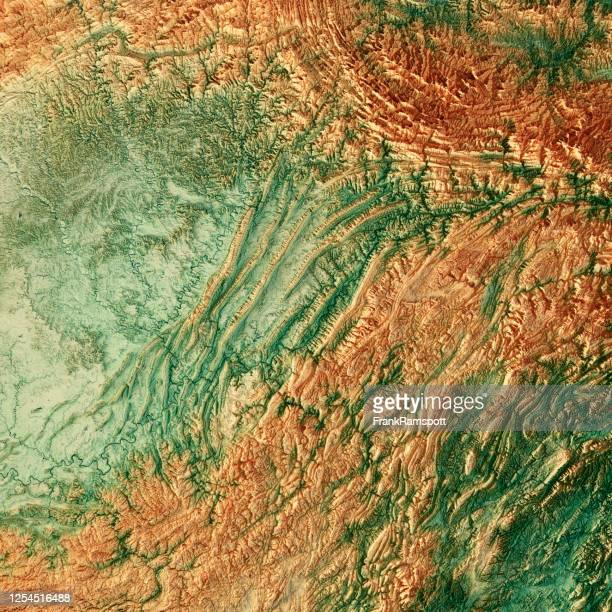 chongqing china 3d render topographic map color - frank ramspott stock pictures, royalty-free photos & images