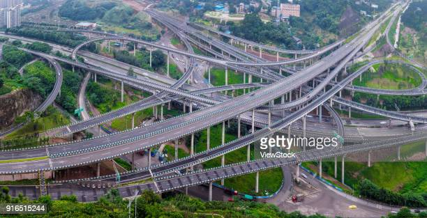 chongqing huang jue wan overpass and city building scenery - chongqing stock photos and pictures