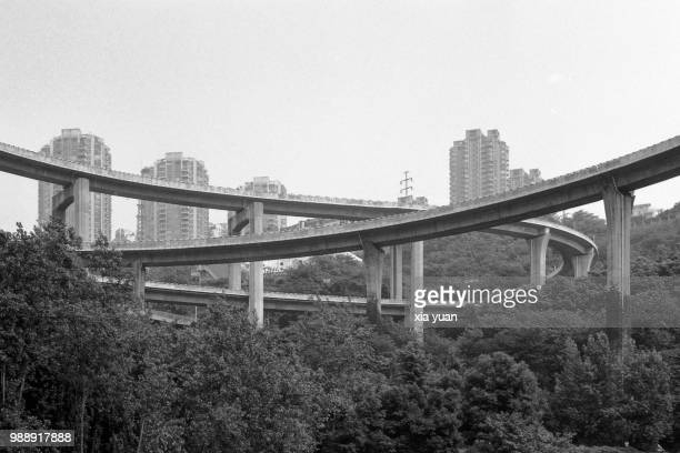 chongqing overpass,china - skyscraper film stock pictures, royalty-free photos & images