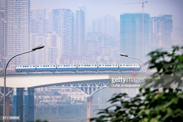 chongqing rail transit - monorail stock pictures, royalty-free photos & images