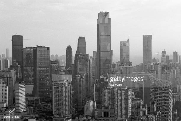 chongqing skyline,china - skyscraper film stock pictures, royalty-free photos & images