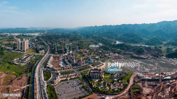 chongqing suburb estate building construction - visual_effects stock pictures, royalty-free photos & images