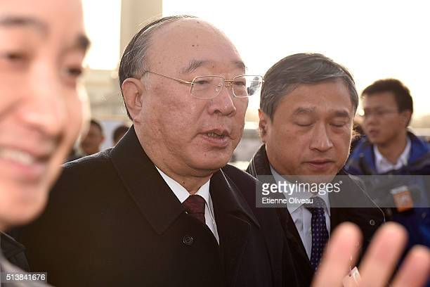 Chongqing's Mayor Huang Qifan attends to the opening session of the China's National People's Congress on March 5 2016 in Beijing China Assembly...