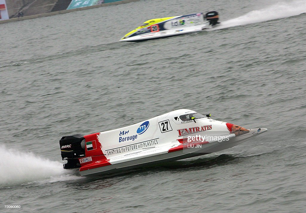 Scott Gillman of the US for Emirates F1 team powers his boat in the