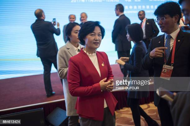 Choo MiAe head of South Korea's Minjoo Party speaks with delegates during the closing ceremony of a meeting of world parties hosted by the Communist...