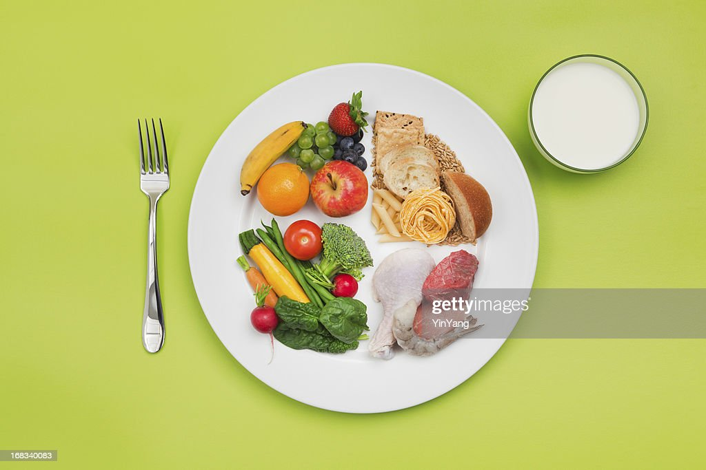 ChooseMyPlate Healthy Food and Plate of USDA Balanced Diet Recommendation : Stock Photo