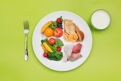 ChooseMyPlate Healthy Food and Plate of USDA Balanced Diet Recommendation 168340083