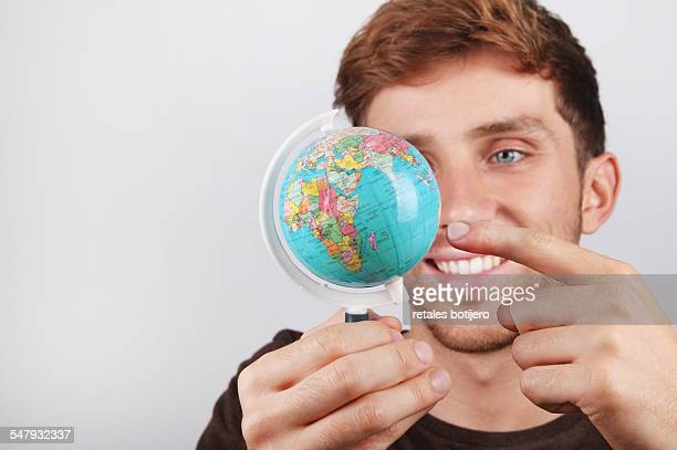 Choosing a place on globe.