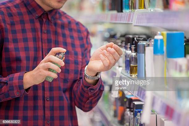 Choosing cosmetics in local supermarket