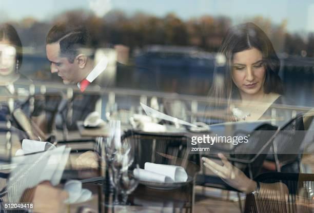 Choosing meal from menu