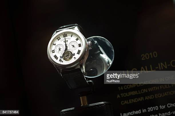 Chopard LUC AllinOne Watch White gold by is exposed at the SIAR watchmaking international fair 2016 at Fernando el Santo Palace on June 16 2016 in...